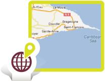Situer les villas de Saint-Francois en Guadeloupe sur une carte